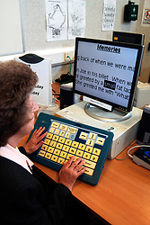 Special computer screen & keyboard for visually impaired people; Social Services Resource Centre; Bradford; Yorkshire UK