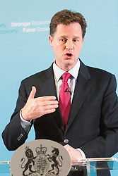 © Licensed to London News Pictures. 21/07/2014. London, UK. Deputy Prime Minister, Nick Clegg speaks at a A and A press conference at Dover House in Whitehall, London on 21st July 2014. Photo credit : Vickie Flores/LNP