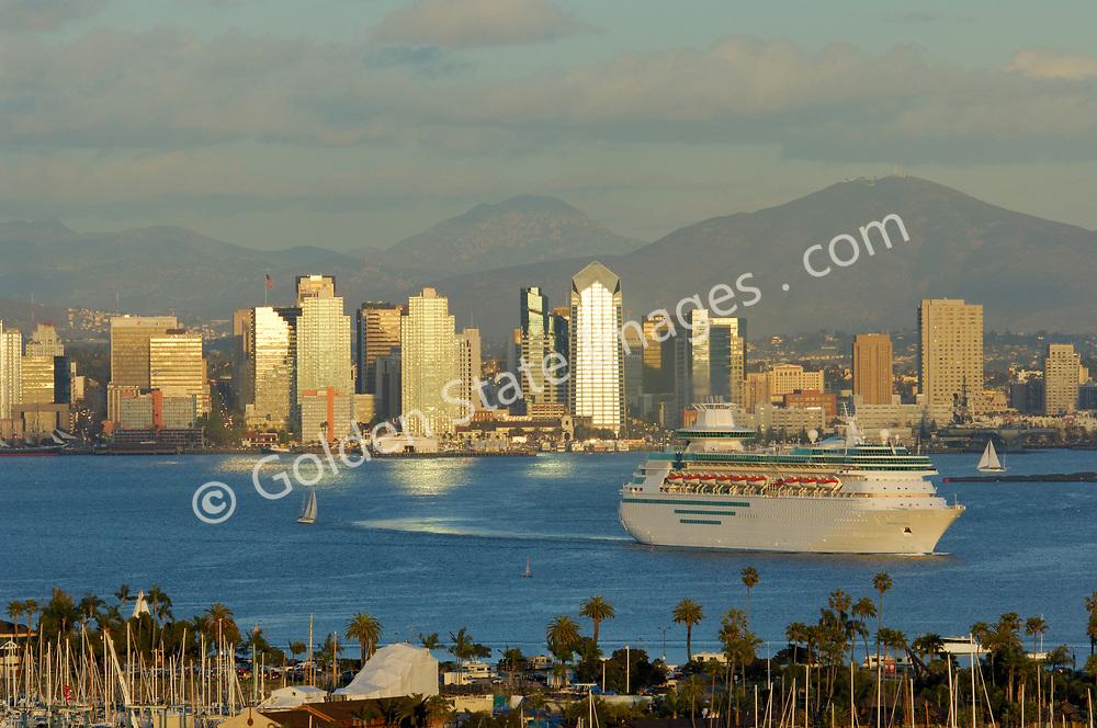 Cruise ship leaving San Diego Harbor.