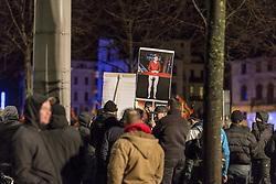 11.01.2016, Innenstadt Leipzig, Leipzig, GER, Kundgebung der Legida zum ersten Jahrestag, im Bild Anhaenger der Legida mit Plakaten bei der Kundgebung der Legida zum ersten Jahrestag // demonstration of Leipzig' s Europeans against the Islamization of the West (LEGIDA), a group linked with the PEGIDA movement, in Innenstadt Leipzig in Leipzig, Germany on 2016/01/11. EXPA Pictures © 2016, PhotoCredit: EXPA/ Eibner-Pressefoto/ Hommes<br /> <br /> *****ATTENTION - OUT of GER*****
