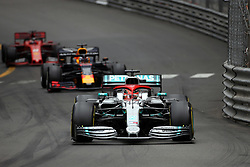 May 26, 2019 - Monte Carlo, Monaco - xa9; Photo4 / LaPresse.26/05/2019 Monte Carlo, Monaco.Sport .Grand Prix Formula One Monaco 2019.In the pic: Lewis Hamilton (GBR) Mercedes AMG F1 W10, Max Verstappen (NED) Red Bull Racing RB15 and Sebastian Vettel (GER) Scuderia Ferrari SF90 (Credit Image: © Photo4/Lapresse via ZUMA Press)