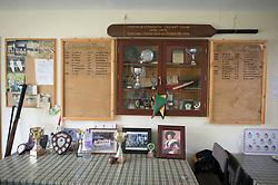 Embargoed to 0001 Monday August 28 Trophies and memorabilia inside Lynton & Lynmouth Cricket Club before the annual friendly match between Cravens Cavaliers and Lynton & Lynmouth Cricket Club at the ground based inside the Valley of Rocks, North Devon, on Saturday August 5th, 2017.