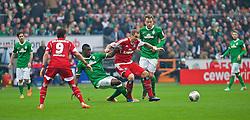 01.03.2014, Weserstadion, Bremen, GER, 1. FBL, SV Werder Bremen vs Hamburger SV, 23. Runde, im Bild Assani Lukimya (Bremen #5) verteidigt gegen Pierre-Michel Lasogga (Hamburger SV #20) // Assani Lukimya (Bremen #5) verteidigt gegen Pierre-Michel Lasogga (Hamburger SV #20) during the German Bundesliga 23th round match between SV Werder Bremen and Hamburger SV at the Weserstadion in Bremen, Germany on 2014/03/02. EXPA Pictures © 2014, PhotoCredit: EXPA/ Andreas Gumz<br /> <br /> *****ATTENTION - OUT of GER*****