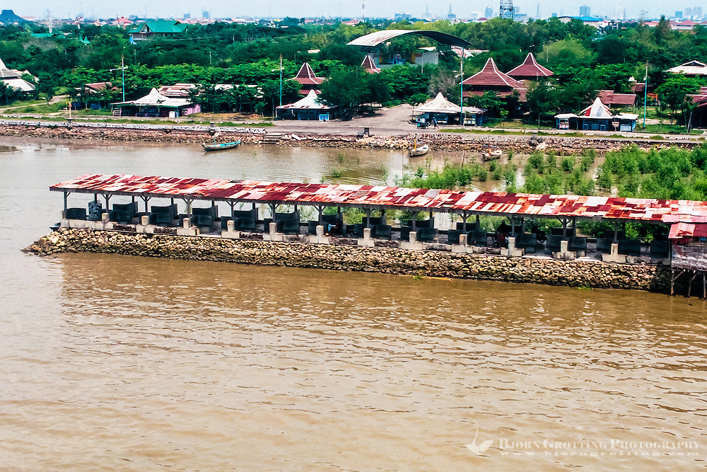 Java, East Java, Surabaya. This pier is a popular meeting place for sweethearts (from helicopter)