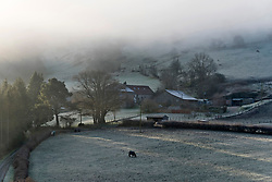 © Licensed to London News Pictures. 06/02/2020. Builth Wells, Powys, Wales, UK. A wintry landscape this morning near Builth Wells in Powys, Wales, UK. after temperatures dropped to around minus 5 C in Powys last night. Photo credit: Graham M. Lawrence/LNP