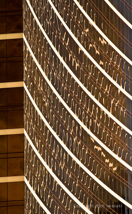 Detail of glass windows on the Wynn hotel building, Las Vegas, Nevada
