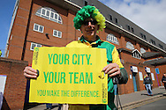 """Norwich City fans holds up """"Your City. Your Team. You make the difference"""" banner outside Selhurst Park before k/o. Barclays Premier League match, Crystal Palace v Norwich city at Selhurst Park in London on Saturday 9th April 2016. pic by John Patrick Fletcher, Andrew Orchard sports photography."""