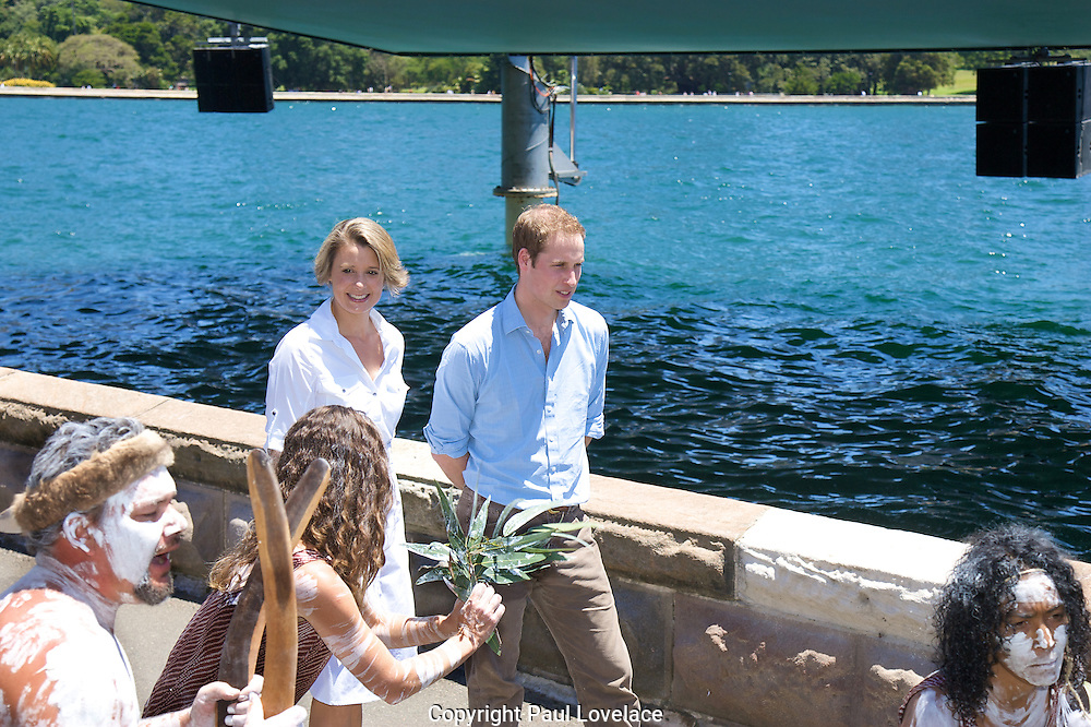 Priince William and Premier of NSW Kristina Keneally at the Royal Botanic Gardens..Seen with the opera House & Bridge behind them..Pics: Paul Lovelace 20.01.10 . An instant sale option is available where a price can be agreed on image useage size. Please contact me if this option is preferred.