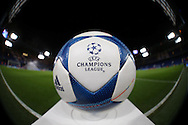 an Official UEFA Champions League match ball on display on the pitch before k/o. UEFA Champions league group G match, Chelsea v Porto at Stamford Bridge in London on Wednesday 9th December 2015.<br /> pic by John Patrick Fletcher, Andrew Orchard sports photography.