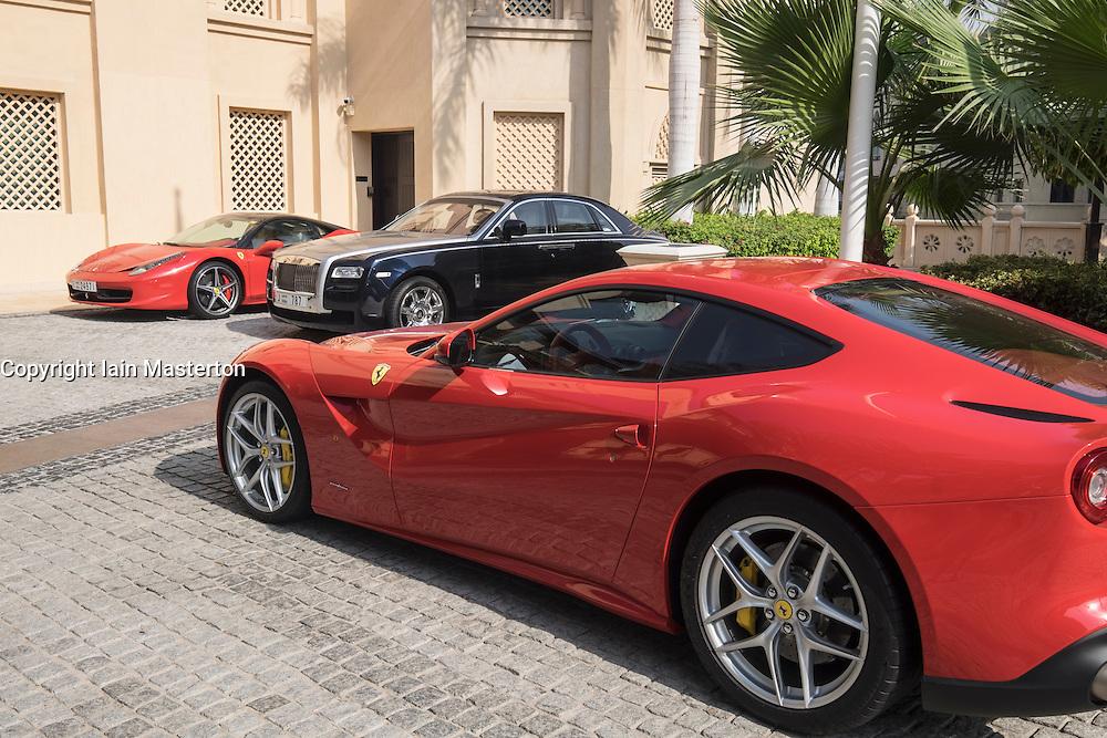 Luxury cars parked outside 5-star hotel in Dubai United Arab Emirates