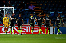 Bristol Rovers cuts a dejected figures after conceding a goal to Dayle Southwell of Wycombe Wanderers - Mandatory by-line: Robbie Stephenson/JMP - 29/08/2017 - FOOTBALL - Adam's Park - High Wycombe, England - Wycombe Wanderers v Bristol Rovers - Checkatrade Trophy