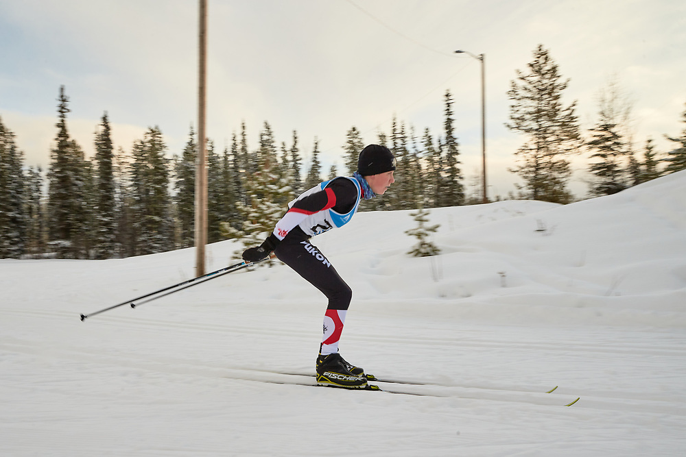 Simon Connell (U16 Boy) skis during the 2020 Don Sumanik Ski Race (classic style) at the Mount McIntyre Recreation Centre, December 6, 2020.