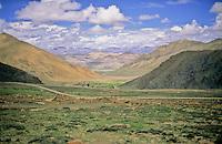 Beautiful expansive valley Tibet.