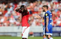 Jonathan Leko of Charlton Athletic with his head in his hands after missing a chance to score - Mandatory by-line: Arron Gent/JMP - 14/09/2019 - FOOTBALL - The Valley - Charlton, London, England - Charlton Athletic v Birmingham City - Sky Bet Championship