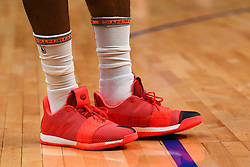 October 21, 2018 - Los Angeles, CA, U.S. - LOS ANGELES, CA - OCTOBER 21: Houston Rockets Guard James Harden (13) Adidas Volume 3 shoes as he warms up before a NBA game between the Houston Rockets and the Los Angeles Clippers on October 21, 2018 at STAPLES Center in Los Angeles, CA. (Credit Image: © Brian Rothmuller/Icon SMI via ZUMA Press)
