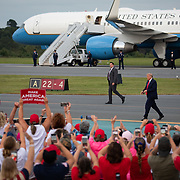 WINSTON-SALEM, NC - SEPT 8: President Donald Trump walks the tarmac after arriving to address a large group of supporters at a rally during a planned campaign stop right off the tarmac at Smith Reynolds Regional Airport in Winston-Salem, NC on September 8, 2020. North Carolina will be a battle ground state in the 2020 presidential election.  (Photo by Logan Cyrus for Bloomberg)
