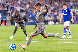 Otávio Edmilson Da Silva Monteiro of FC Porto scores a penalty DFL REGULATIONS PROHIBIT ANY USE OF PHOTOGRAPHS AS IMAGE SEQUENCES AND/OR QUASI-VIDEO. during the UEFA Champions League group D match between Schalke 04 and FC Porto at the Arena auf Schalke on September 18, 2018 in Gelschenkirchen, Germany