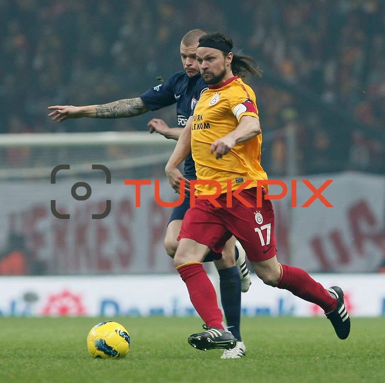Galatasaray's Tomas Ujfalusi (R) during their Turkish Super League soccer match Galatasaray between IBBSpor at the TT Arena at Seyrantepe in Istanbul Turkey on Tuesday, 03 January 2012. Photo by TURKPIX