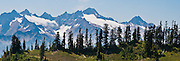 Twin Sisters Mountain, Mount Baker Wilderness, Mount Baker-Snoqualmie National Forest, Washington, USA. Panorama stitched from 3 images.