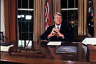 President Carter after delivering an address to the nation from the Oval Office on Energy on Novermber 7 1977<br /> Photo by Dennis Brack