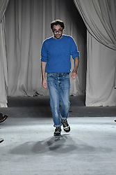 Designer Lorenzo Serafini on the catwalk during the Philosophy Catwalk show in MIlan, Italy