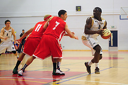Essex Leopards' Simon Cummings looks for options - Photo mandatory by-line: Dougie Allward/JMP - Tel: Mobile: 07966 386802 23/03/2013 - SPORT - Basketball - WISE Basketball Arena - SGS College - Bristol -  Bristol Academy Flyers V Essex Leopards