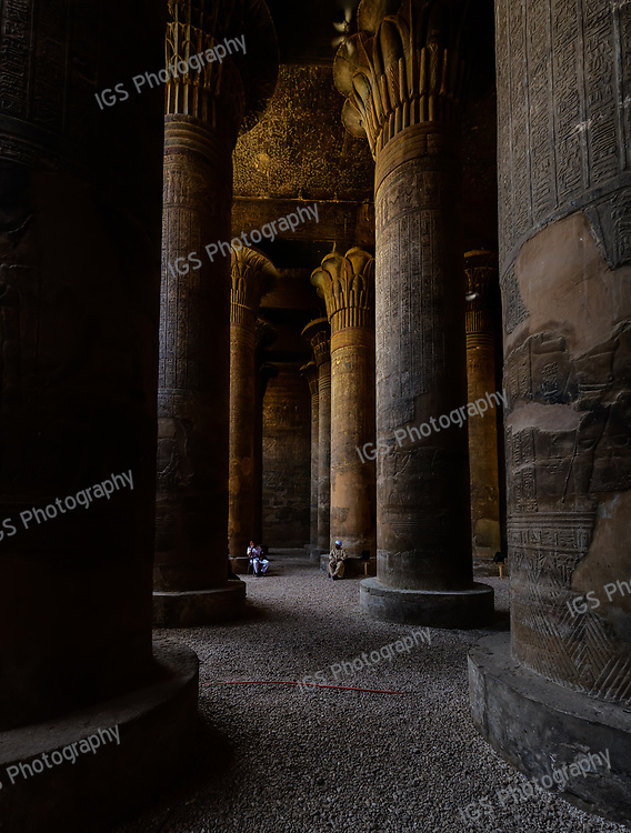 The roof of the hypostyle hall is supported by twenty four columns with beautifully carved and painted floral capitals