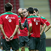 Athletic Bilbao's coach Marcelo BIESLA (C) during their team's training session in Istanbul, Turkey, 24 August 2011. Athletic Bilbao will face Trabzonspor in the UEFA Europa League play off second leg soccer match on 25 August.  Photo by TURKPIX