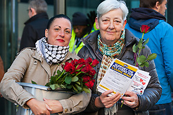 London, UK. 14th February, 2019. Public & Commercial Services (PCS) union members Katie Leslie (l) and Candy Udwin (r) show solidarity on a Valentine's Day-themed picket line outside the Department of Business, Energy and Industrial Strategy (BEIS) with outsourced support staff taking strike action to demand the London Living Wage and an end to outsourcing.