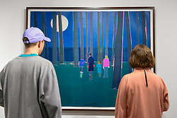 "© Licensed to London News Pictures. 03/05/2017. London, UK. Visitors view ""Terrestrial"", 2017, by Tom Hammick at the preview of the 32nd London Original Print Fair at the Royal Academy of Arts in Piccadilly.  51 international specialist dealers are presenting works in the print medium to buyers from 4 May to 7 May. Photo credit : Stephen Chung/LNP"