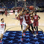 Josh Brown, Temple, drives to the basket during the Temple Vs SMU Semi Final game at the American Athletic Conference Men's College Basketball Championships 2015 at the XL Center, Hartford, Connecticut, USA. 14th March 2015. Photo Tim Clayton