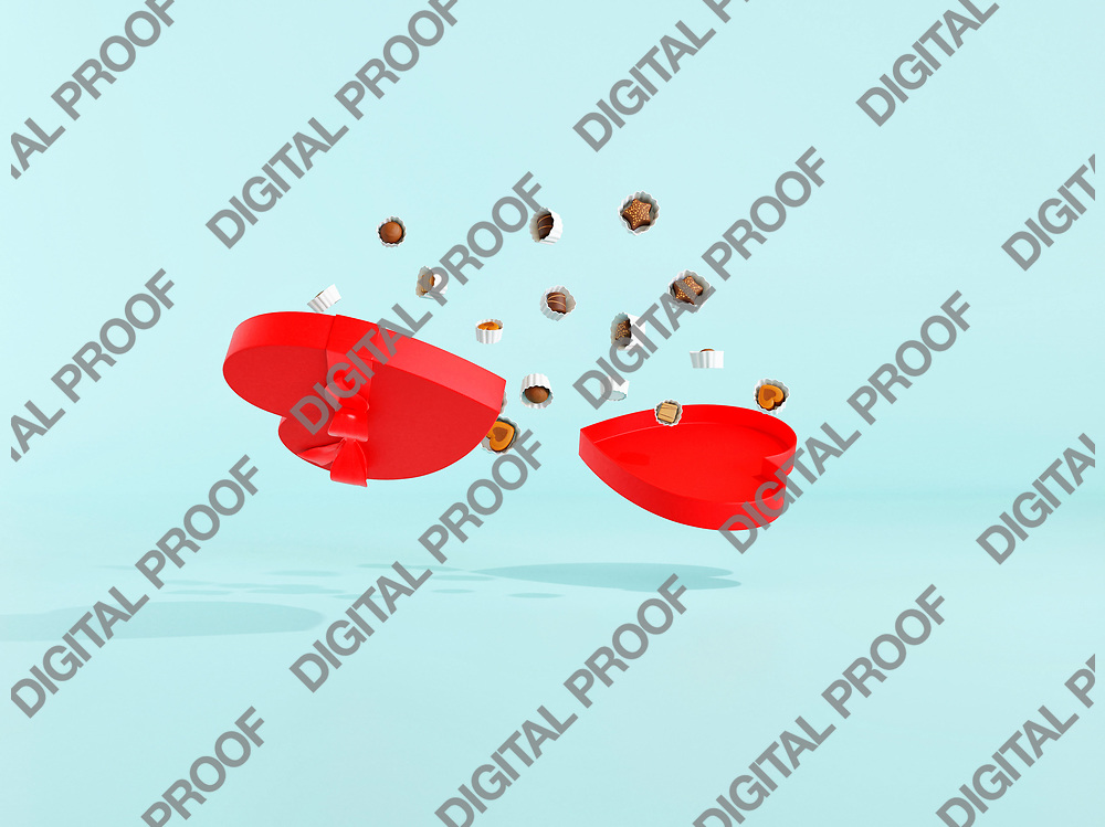 Open Chocolate Box with a heart shape with bonbons floating in the air in studio with light blue background - 3d rendering concept