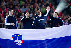 Players of Slovenia during handball match between National teams of Slovenia and Poland of Qualifications for EURO 2012, on March 9, 2011 in Arena Stozice, Ljubljana, Slovenia. (Photo By Vid Ponikvar / Sportida.com)