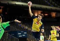 Emil Mellegard of Sweden during handball match between National Teams of Sweden and Slovenia at Day 3 of IHF Men's Tokyo Olympic  Qualification tournament, on March 14, 2021 in Max-Schmeling-Halle, Berlin, Germany. Photo by Vid Ponikvar / Sportida