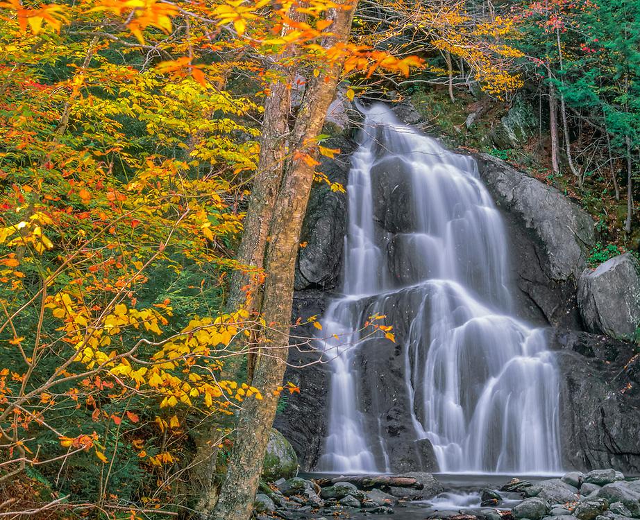 Moss Glen Falls with fall foliage, Granville, VT