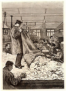 French postal service. Sacks of letters being emptied out in the sorting office at the main Post Office, rue du Louvre, Paris, France. Engraving from 'Le Journal de la Jeunesse' (Paris, 1886).