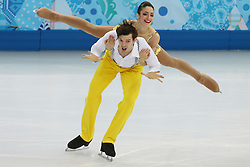 The XXII Winter Olympic Games 2014 in Sotchi, Olympics, Olympische Winterspiele Sotschi 2014, Figure Skating, Pairs Short Program,<br /> Stefania Berton and Ondrej Hotarek (Italy)   perform their short program in the pair skating competition at the XXII Olympic Winter Games *** Local Caption ***