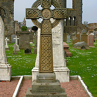 Europe, United Kingdom, Great Britain; Scotland, St. Andrews. St. Andrews Cathedral and cemetary.