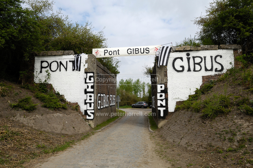 France, April 13th 2014: View of Pont Gibus, Wallers, before the Paris Roubaix cycle race would come through.