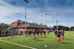 LOUGHBOROUGH, ENGLAND - Sunday, April 18, 2021: Liverpool players warm-up before the Women's FA Cup 4th Round match between Leicester City FC Women and Liverpool FC Women at Farley Way Stadium. (Pic by Darren Staples/Propaganda)