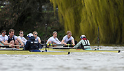 Putney, London, Cambridge, left to right,  George NASH, Peter McCELLAND, Deaglan McEACHERN, Henry PELLY, Derek RASMUSSEN, Stroke - Fred GILL,  start to move away from Oxford as the crews approach Barnes Rail Bridge  156th, University Boat Race156th Race, on the Championship Course Putney to Hammersmith  Saturday  03/04/2010 [Mandatory Credit Peter Spurrier/ Intersport Images]