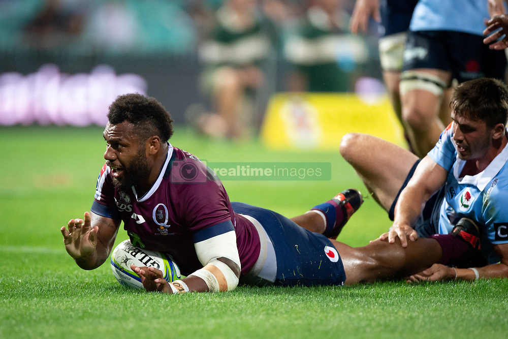 March 9, 2019 - Sydney, NSW, U.S. - SYDNEY, NSW - MARCH 09: Reds player Samu Kerevi (13) scores a try at round 4 of Super Rugby between NSW Waratahs and Queensland Reds on March 09, 2019 at The Sydney Cricket Ground, NSW. (Photo by Speed Media/Icon Sportswire) (Credit Image: © Speed Media/Icon SMI via ZUMA Press)