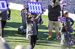 Nov 10, 2018; Morgantown, WV, USA; TCU Horned Frogs cheerleaders perform during the third quarter against the West Virginia Mountaineers at Mountaineer Field at Milan Puskar Stadium. Mandatory Credit: Ben Queen-USA TODAY Sports