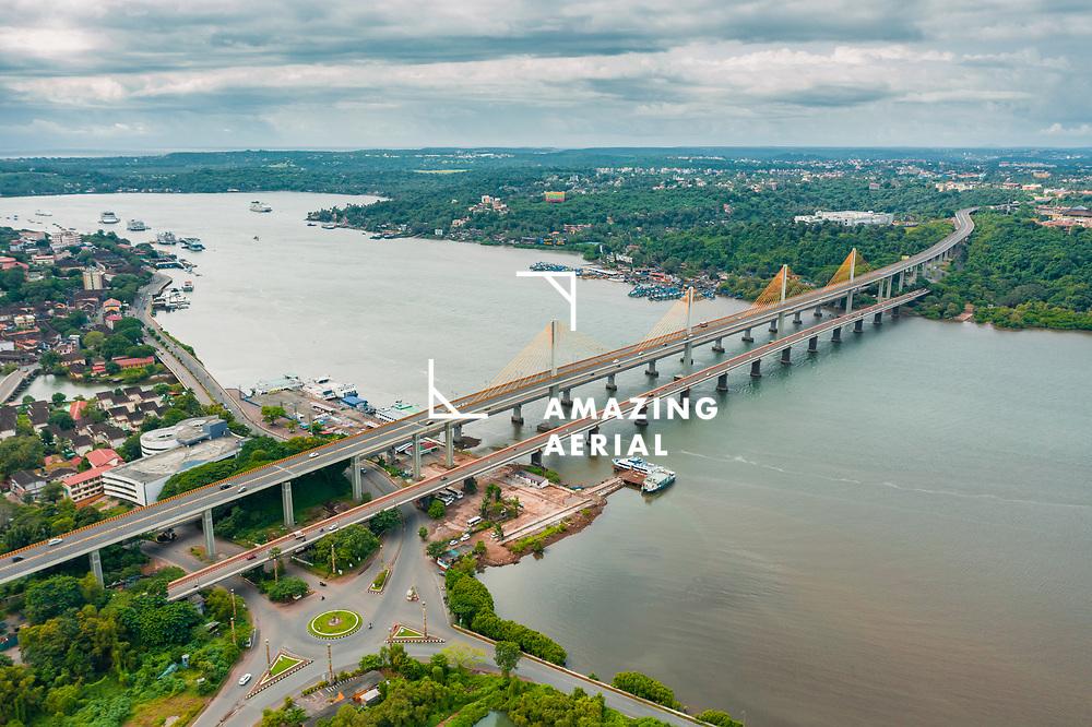 Aerial view of Atal Setu bridge over the Mandovi river, Panjim, Goa, India.
