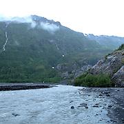 Water flows in the washout plain at Exit Glacier in the Kenai Fjords National Park in Seward, Alaska, on Thursday, August 4, 2016. (Alex Menendez via AP)