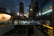The Cerulean Tower hotel towers above the new areas of Shibuya Station which form part of the Hello neo Shibuya redevelopment project in the area in readiness for the 2020 Tokyo Olympics,. Shibuya, Tokyo, Japan. Thursday December 5th 2019