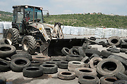 Israel, Tyrec LTD Tire recycling industries Used tyres collected from all over Israel awaiting processing at the recycling facility