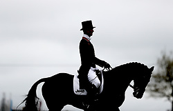 William Fox-Pitt with Fernhill Pimms in the practice area before his dressage during day three of the Mitsubishi Motors Badminton Horse Trials at The Badminton Estate, Gloucestershire. PRESS ASSOCIATION Photo. Picture date: Friday May 4, 2018. See PA story EQUESTRIAN Badminton. Photo credit should read: David Davies/PA Wire