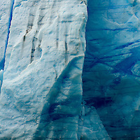 A detail shot of the blue veins of Glacier Grey in Torres del Paine National Park, Chile.