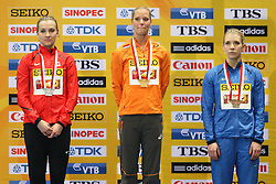07.03.2014, Ergo Arena, Sopot, POL, IAAF, Leichtathletik Indoor WM, Sopot 2014, Tag 1, im Bild Brianne Theisen Eaton (CAN), Nadine Broersen (NED), Ganna Melnichenko (UKR), piecioboj, pentahlon, ceremonia medalowa, medal ceremony // Brianne Theisen Eaton (CAN), Nadine Broersen (NED), Ganna Melnichenko (UKR), piecioboj, pentahlon, ceremonia medalowa, medal ceremony during day one of IAAF World Indoor Championships Sopot 2014 at the Ergo Arena in Sopot, Poland on 2014/03/07. EXPA Pictures © 2014, PhotoCredit: EXPA/ Newspix/ Tomasz Jastrzebowski<br /> <br /> *****ATTENTION - for AUT, SLO, CRO, SRB, BIH, MAZ, TUR, SUI, SWE only*****